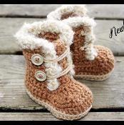 Fur Trim Baby Booties - via @Craftsy