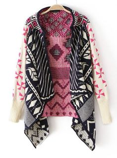Pink Long Sleeve Tribal Pattern Asymmetrical Cardigan pictures