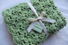 Baby Boy Blanket or Baby Girl Blanket - Crochet baby blanket - Matcha Green Tea Shells Stroller/Travel/Car seat size - Baby blanket. $36.99, via Etsy.