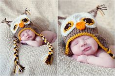 Crochet Hoot Owl Hat Natural