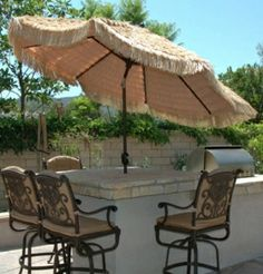 "This 9' Aluminum ""Deluxe"" Tiki Umbrella is best quality imitation Thatch cover. Featuring Deluxe Dynamic Crank and Deluxe Auto Tilt, best buy for $299.00 sale price.  Product ID : GAL-737-Tiki #PatioUmbrella"