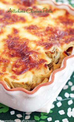 artichok chicken, artichok bake, chicken artichoke pasta, chicken pasta, bake artichok