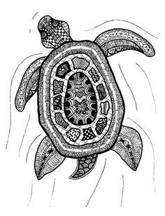 Zentangle Art   Zentangle Turtle Print by Printfox on Etsy