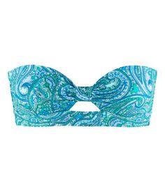 H Blue Paisley Bikini Top $5