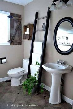 ladder, window shutters, interior, towel racks, small bathrooms, funky junk, bathroom ideas, towel storage, toilet paper