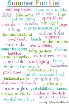 A Pretty Life in the Suburbs: Summer Fun List I love this blog for many things she posts.