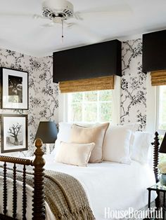 interior design, guest bedroom, valanc, black white, white bedrooms, hous, window treatments, shade, guest rooms