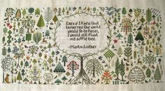such a fantastic sampler. who knew there were so many different ways to represent trees in cross stitch?