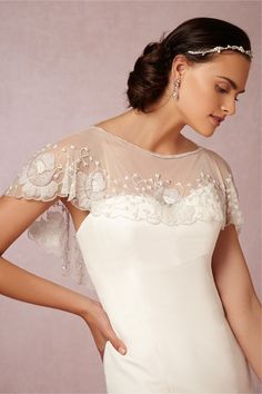 Peony Topper from BHLDN | delicate seed beading and dainty pearls give the appearance of vintage lace