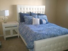 Suzie Hill's new white hot bedroom featuring our new West Street Bed and Concerto nightstand.