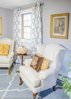 Weekend makeover + updating for fall. My mom's small living room makeover featuring gray and white walls. A weekend update using paint and items from around our home. A low cost makeover mixing traditional and modern elements.