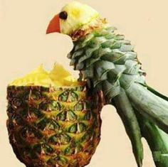 Pineapple with Parrot made from stem! That's Food Art!