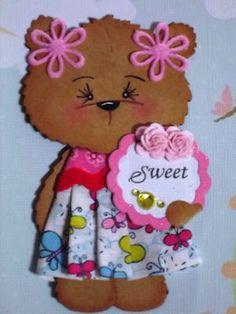 Girl Bear paper piecing scrapbook embellishment