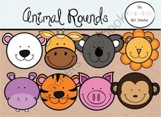 Animal Faces - Digital Clipart from TheCreativeArtTeacher on TeachersNotebook.com -  (1 page)  - This set includes 10 vibrantly colored .png files as well as the blackline version of each, formatted at 300 dpi for printing. This is a total of 20 clips.