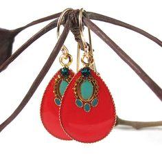 earring red, red earring, dangler earring, crystal, dangle earrings, drop earring, color jewelri, earring turquois