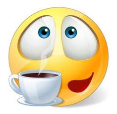 This smiley is a caffeine fiend. Maybe you are too or, perhaps, you are friends on Facebook with someone who equates coffee with mother's milk.