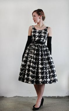 1950s Houndstooth Dress  Oversize Print  Mid Century by VeraVague, $165.00
