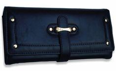 Veľká dámska peňaženka kožená s prackou, čierna