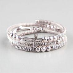 Tilly's .. FULL TILT Beaded Cross Coil Bracelet