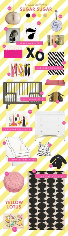 Sugar Sugar girl nursery inspiration style board via Lay Baby Lay #pinparty