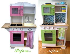 """This is the Target """"Play Wonder"""" kitchen, transformed with a little Rustoleum """"Apple Green"""" spray paint, some new hardware, and a mosaic glass backsplash. (The backsplash was easier than it looks... I just hot-glued the glass mosaic to the backsplash. No grout required!!)"""