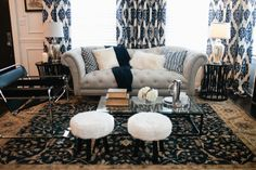 Nina brings her stunning style to yet another living room during the competition. #DreamBuilders pretti couch, couch style, american dreams, curtain
