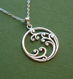 Sterling silver wave scroll pendant necklace by jersey608jewelry, $42.00