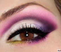 makeup eyes, shades of purple, eye makeup, color, beauti, pink, yellow, eyeshadows, hair