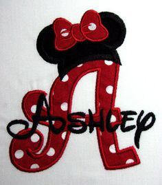 Personalized Minnie Mouse Initial or Number shirt. Mickey design also available. $17.00, via Etsy.