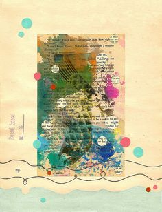 Splash ~ Shelley Kommers. Mixed media: book, tape transfer, paper, thread, tissue on vintage book page. #journal #mixed_media