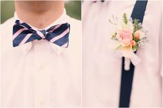 vintage style navy and pink bow tie, vintage groom's boutonniere with pink rose