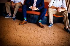 groom and groomsmen with socks and boat shoes.