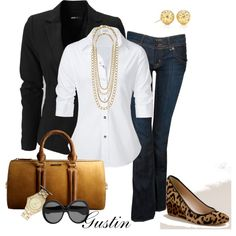 Black blazer, animal print wedges :)