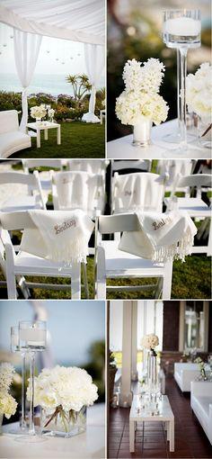 Love the monogramed pashminas in this white theme #wedding