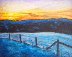 North Carolina Mountain Painting, 16 x 20 Original Oil Pastel on Board, FRAMED Blue Ridge Winter