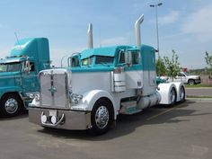 Baby Blue and white custom Peterbilt