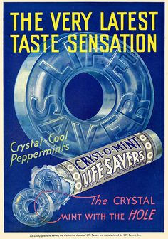 Wonderful blend of early 30s fonts at work on this chic ad for Lifesavers Cryst-o-Mint candies. #food #candy #vintage #ad #1930s #Lifesavers #mint