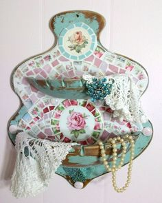 Shabby Prim Robin's Egg Blue China Rose Mosaic Wall Hanging Bowls