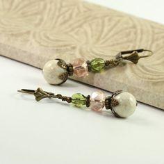 Woodland Fairy Earrings Pink Green Boho by AbacusBeadCreations, $24.00