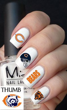 Chicago Bears football nail decal 50pc by DesignerNails on Etsy, $4.00
