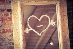 bathroom mirrors, mirror mirror, vintage valentines, heart, valentine day, washabl marker, doodl, diy mirror, quot