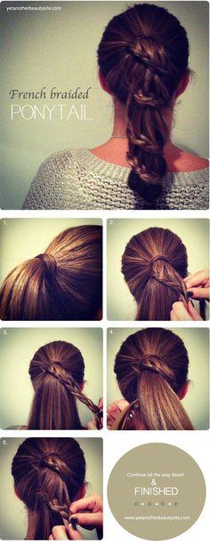 French Braided Ponytail | yetanotherbeautysite #braid #hair #tutorial