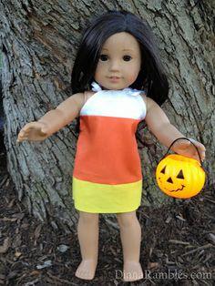 American Girl Doll Candy Cane Halloween Dress