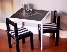 nap time, chalkboards, chalkboard top, idea, kids black and white ikea, chalkboard paint, ikea latt table, photo prop, crafts