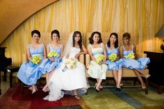 Wedding, Green, Bridesmaids, Blue - Photo by Christine Marie Photography - Project Wedding