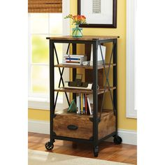 "Better Homes and Gardens Rustic Country Tech Pier, Antiqued Black/Pine Finish: Furniture : Walmart.com $125 21"" wide by 21"" deep by 40"" high."