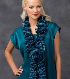 Love this knitted teal ruffle scarf!