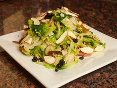 Shaved Brussels Sprout Salad with Dried Blueberries, Bacon, Almonds ...