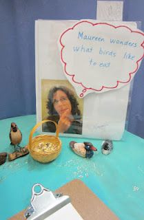 Love this...Maureen (teacher) wonders what birds like to eat?