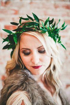 greenery crown, photo by Melissa Biador http://ruffledblog.com/barber-shop-anniversary-shoot #bridal
